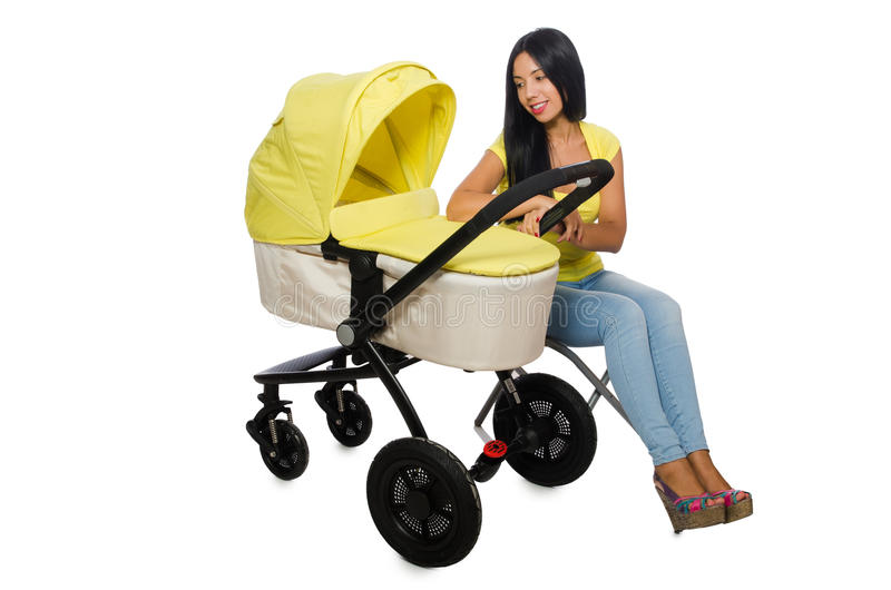 Download Γυναίκα με το μωρό και καροτσάκι που απομονώνεται στο λευκό Στοκ Εικόνα - εικόνα από χαρά, έδρα: 62709565
