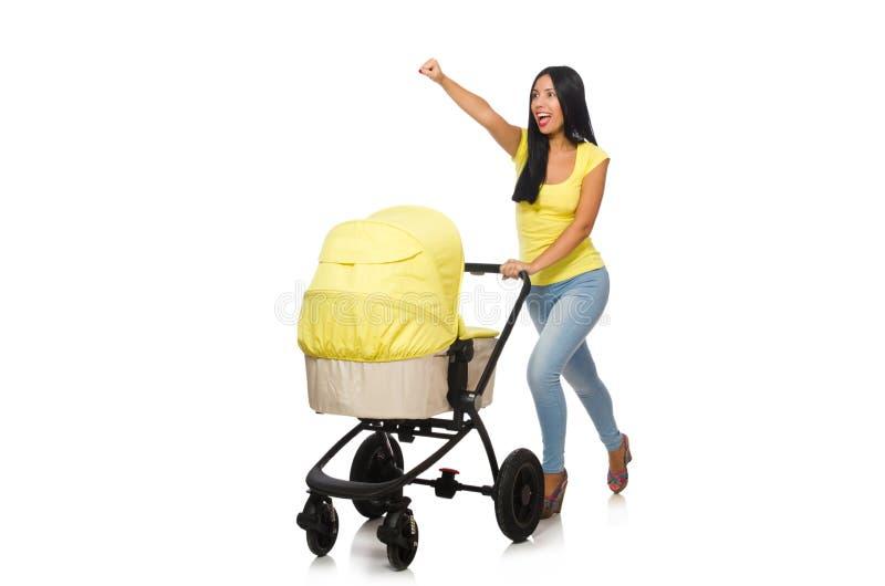 Download Γυναίκα με το μωρό και καροτσάκι που απομονώνεται στο λευκό Στοκ Εικόνες - εικόνα από νεογέννητος, βάκιλοι: 62709786