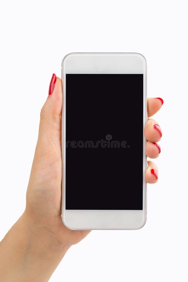 Γυναίκα με το νέο smartphone στοκ εικόνες