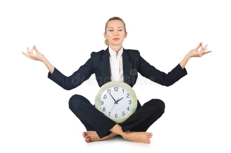 Γυναίκα με το ρολόι στοκ φωτογραφία με δικαίωμα ελεύθερης χρήσης