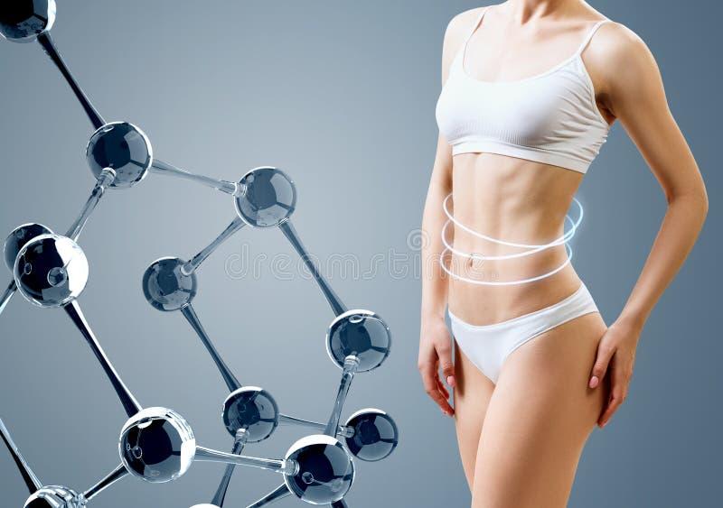 Γυναίκα με το τέλειο σώμα κοντά στην αλυσίδα μορίων γυαλιού στοκ φωτογραφίες