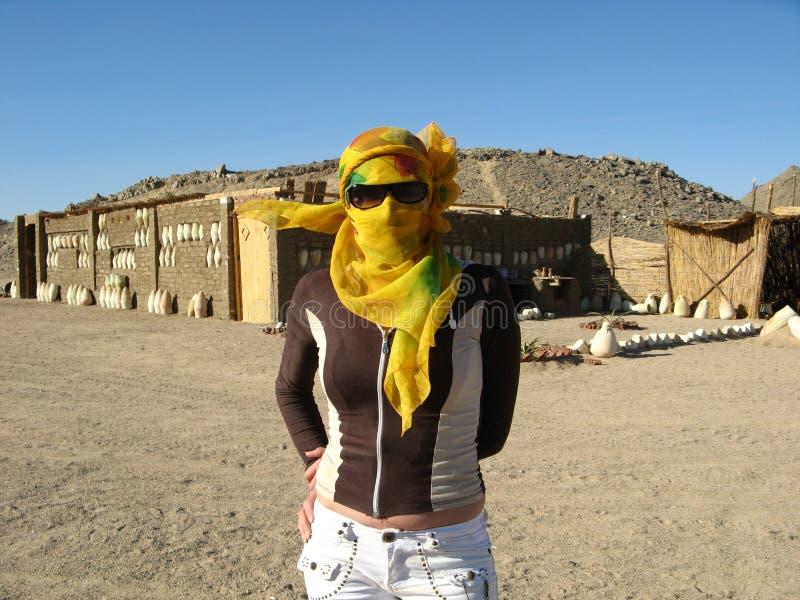 Γυναίκα με το χρωματισμένο πέπλο στοκ εικόνες
