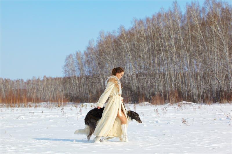 Γυναίκα με το borzoi υπαίθρια στοκ φωτογραφίες
