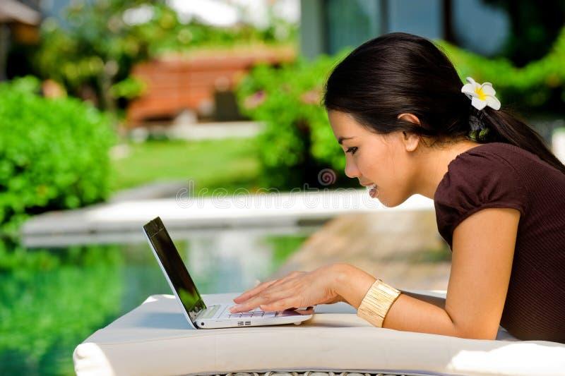 Γυναίκα με το lap-top στοκ εικόνα