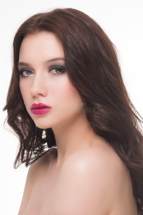 Γυναίκα με το makeup και hairstyle στοκ φωτογραφία με δικαίωμα ελεύθερης χρήσης