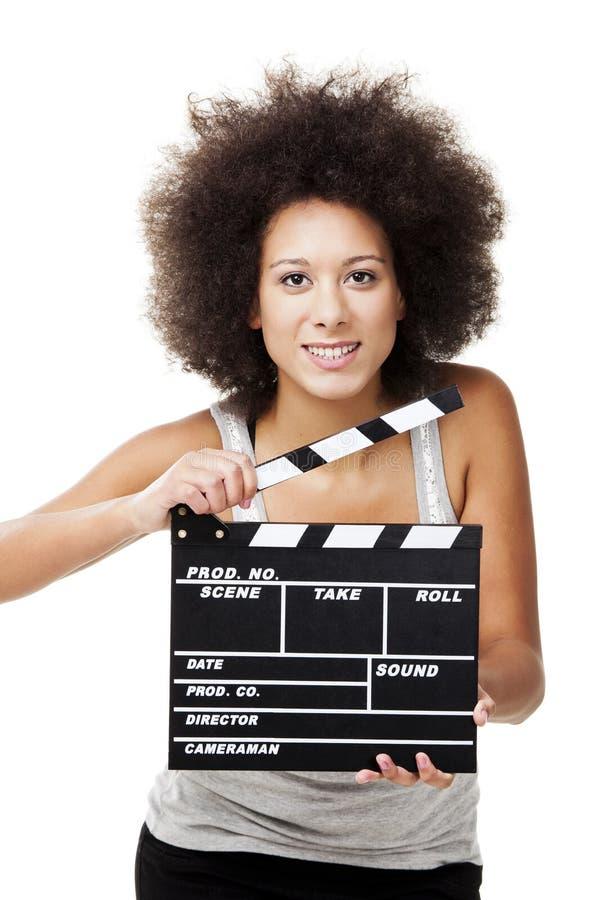 Γυναίκα με clapboard στοκ εικόνες
