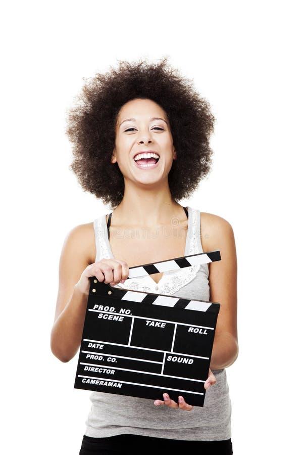Γυναίκα με clapboard στοκ εικόνες με δικαίωμα ελεύθερης χρήσης