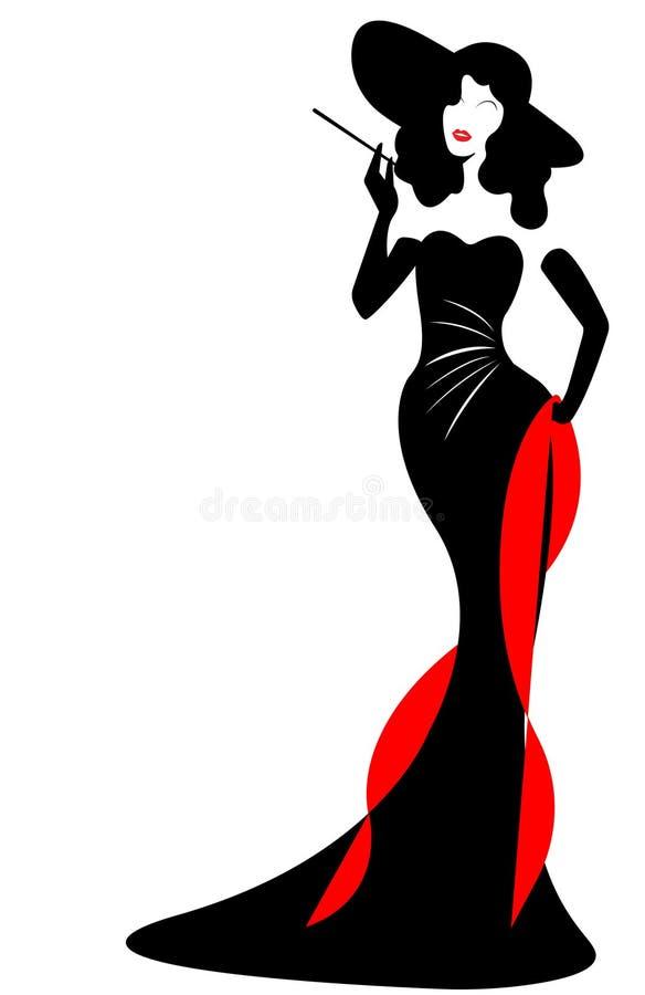 Γυναίκα μόδας λογότυπων καταστημάτων, μαύρη ντίβα σκιαγραφιών με το καπέλο στο φόρεμα βραδιού Σχέδιο λογότυπων επιχείρησης, όμορφ ελεύθερη απεικόνιση δικαιώματος