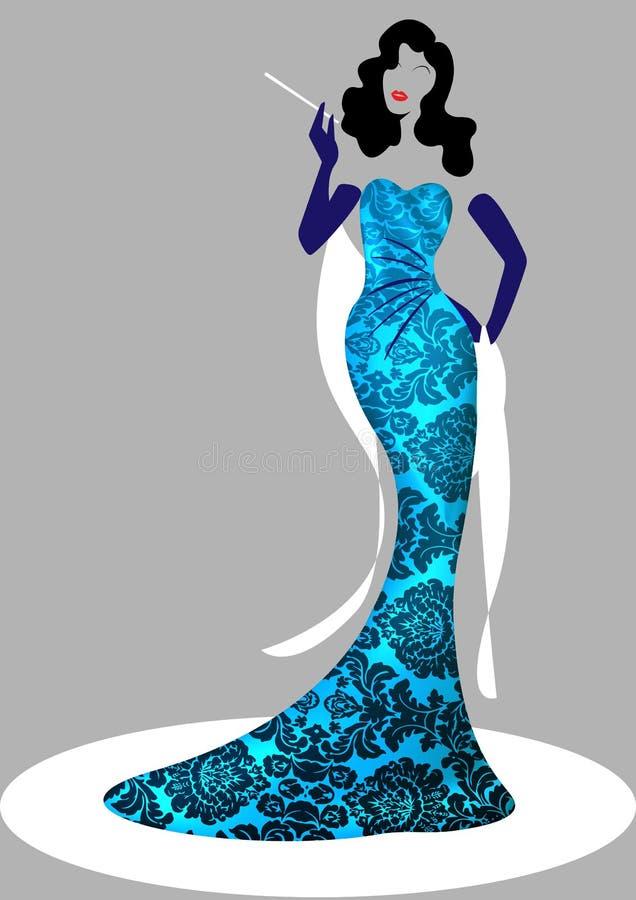 Γυναίκα μόδας λογότυπων καταστημάτων, ντίβα σκιαγραφιών brunette Σχέδιο λογότυπων επιχείρησης, όμορφο κορίτσι κάλυψης αναδρομικό  απεικόνιση αποθεμάτων