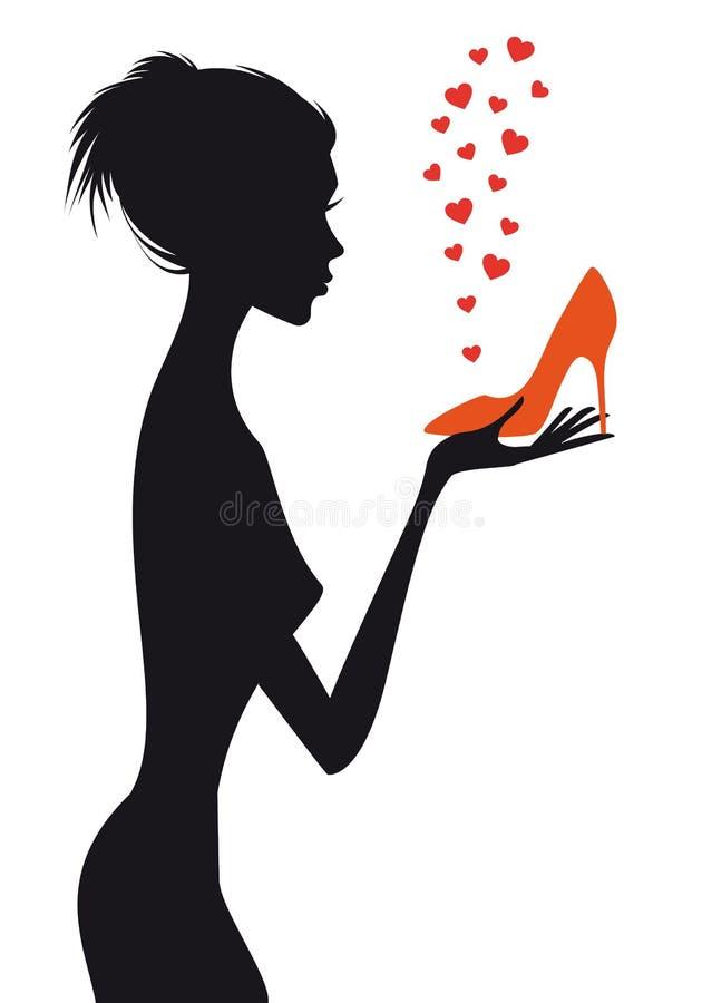 Γυναίκα μόδας με το κόκκινο παπούτσι, διάνυσμα ελεύθερη απεικόνιση δικαιώματος