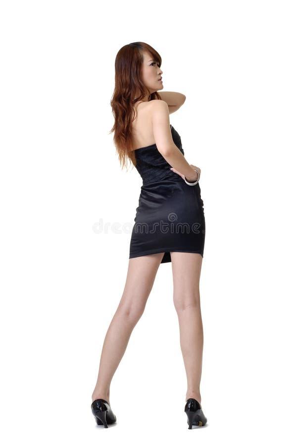 γυναίκα μόδας πίσω πλευρώ&nu στοκ φωτογραφία