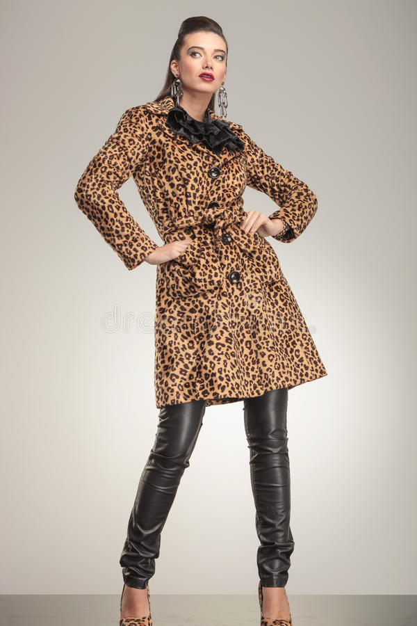 Γυναίκα μόδας στη ζωική τοποθέτηση παλτών τυπωμένων υλών για τη κάμερα στοκ φωτογραφία με δικαίωμα ελεύθερης χρήσης