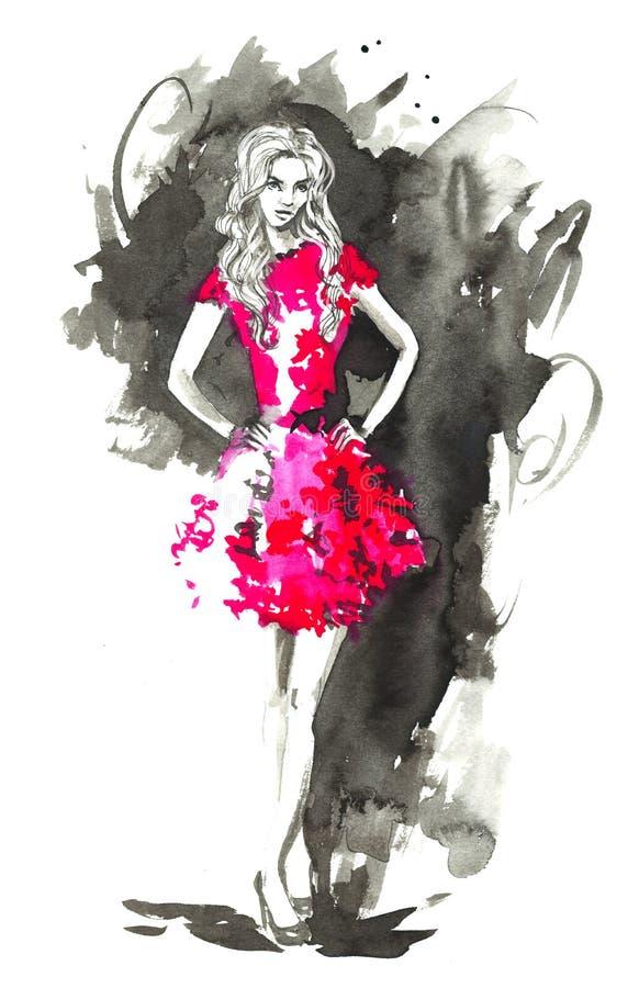 Γυναίκα μόδας στο κόκκινο η διακοσμητική εικόνα απεικόνισης πετάγματος ραμφών το κομμάτι εγγράφου της καταπίνει το watercolor διανυσματική απεικόνιση