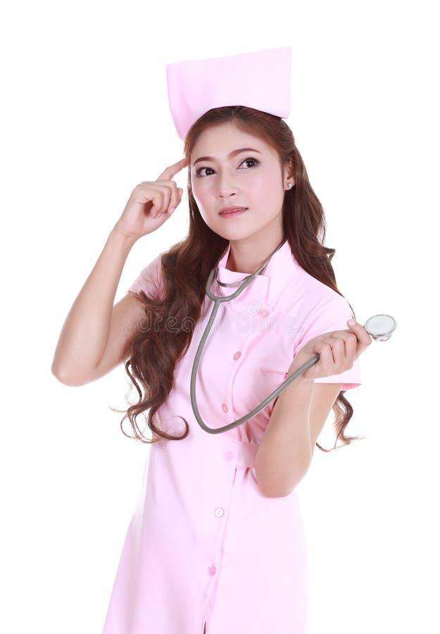 Γυναίκα νοσοκόμα με το στηθοσκόπιο στοκ εικόνα