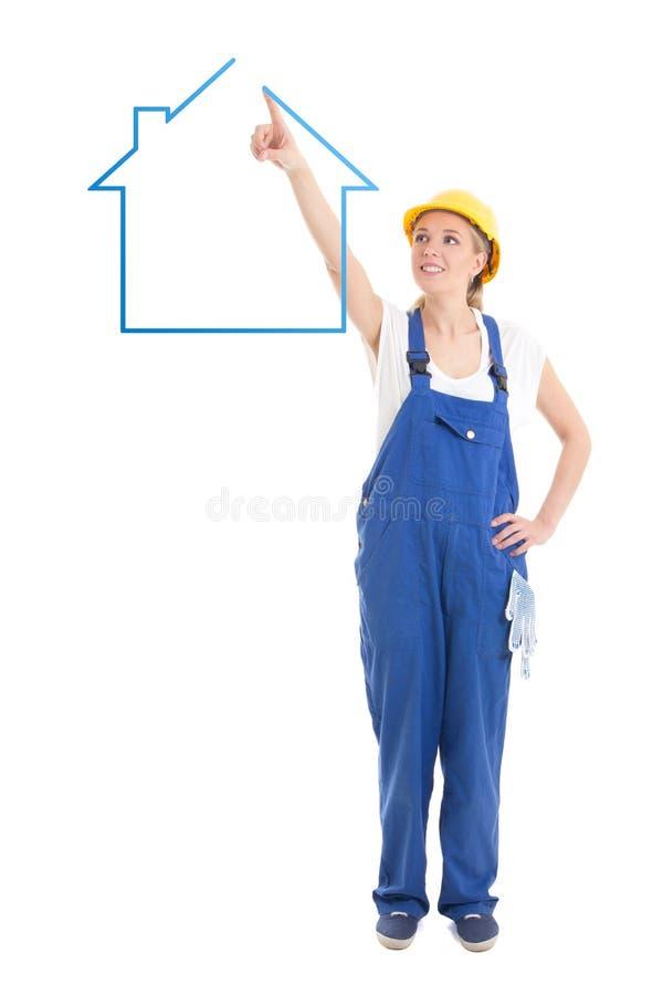 Γυναίκα οικοδόμων σπίτι σχεδίων που απομονώνεται στο ομοιόμορφο στο λευκό στοκ εικόνες