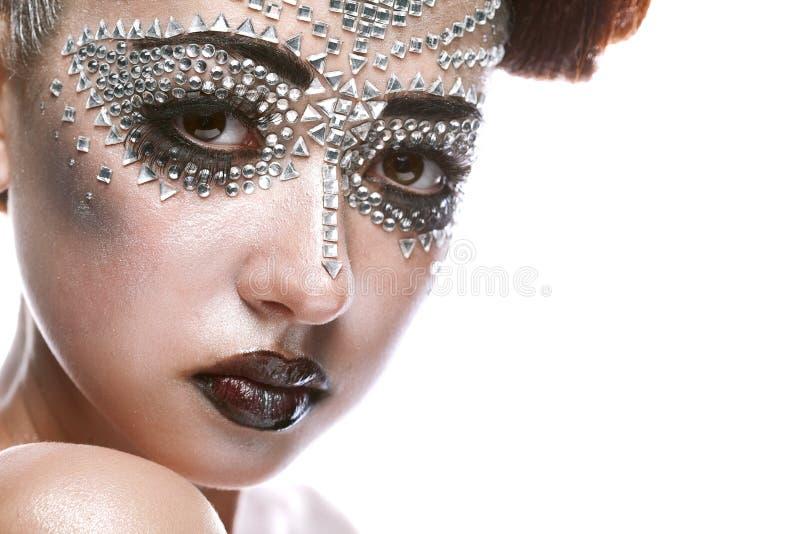 Γυναίκα ομορφιάς στο φουτουριστικό makeup στοκ φωτογραφίες με δικαίωμα ελεύθερης χρήσης