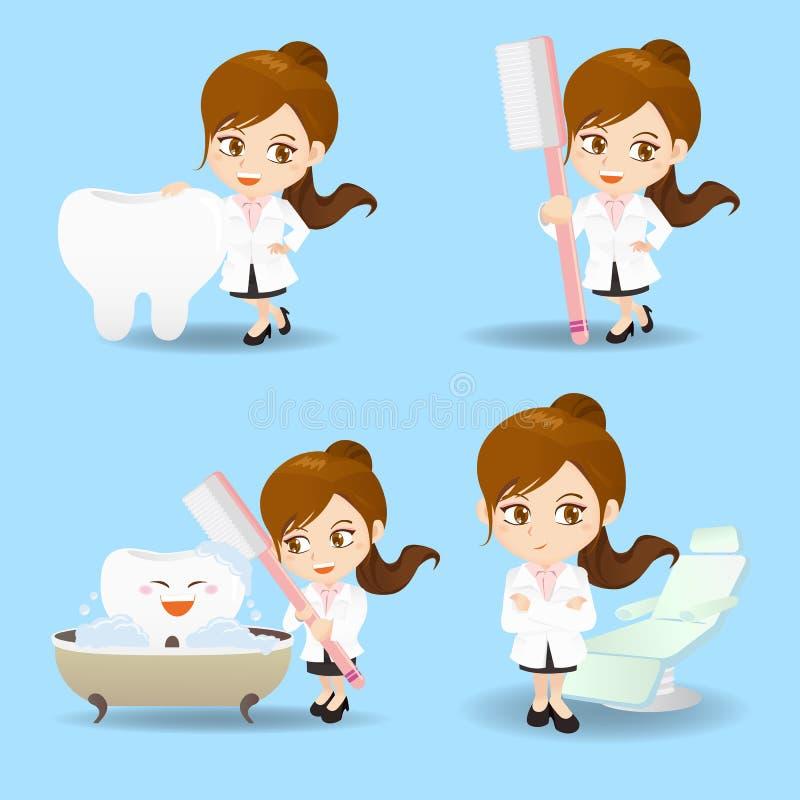 Γυναίκα οδοντιάτρων γιατρών κινούμενων σχεδίων