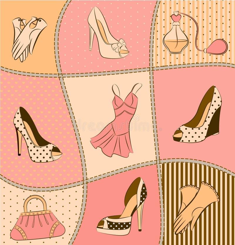 γυναίκα παπουτσιών αρώματ& απεικόνιση αποθεμάτων