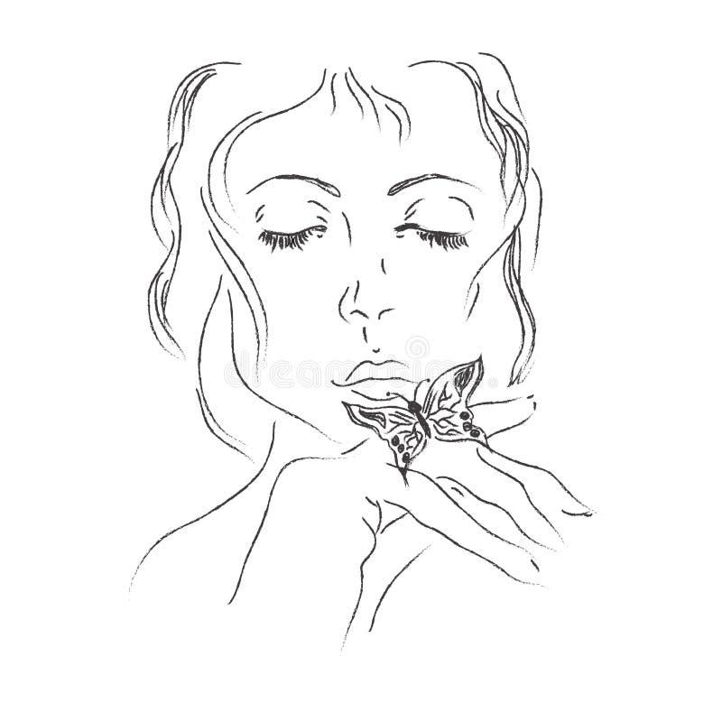 Γυναίκα, πεταλούδα, σκίτσο, χέρι, σχέδια, διάνυσμα, απεικόνιση διανυσματική απεικόνιση