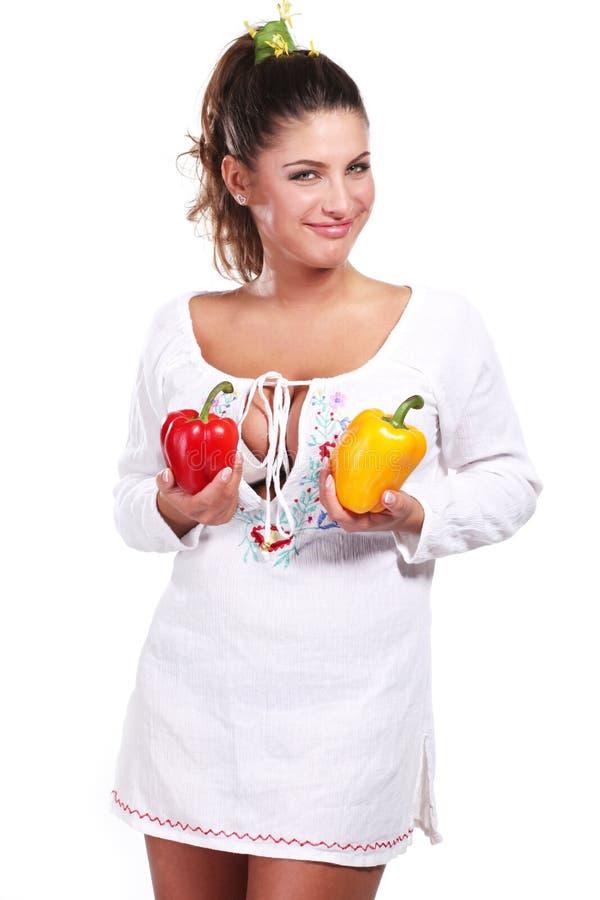 Download γυναίκα πιπεριών στοκ εικόνα. εικόνα από χαμόγελο, ευτυχία - 17054247