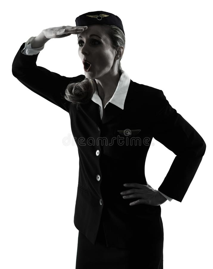 Γυναίκα πληρωμάτων καμπινών αεροσυνοδών που φαίνεται μακριά έκπληκτη απομονωμένος silh στοκ φωτογραφία με δικαίωμα ελεύθερης χρήσης