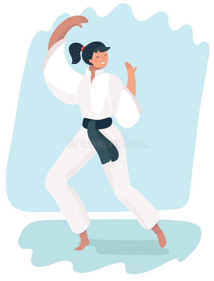 Γυναίκα πολεμικών τεχνών excercising karate κιμονό ελεύθερη απεικόνιση δικαιώματος
