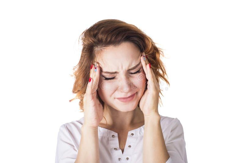 Γυναίκα πονοκέφαλου που απομονώνεται στο άσπρο υπόβαθρο Κεφάλι εκμετάλλευσης Έννοια Helthcare στοκ εικόνες με δικαίωμα ελεύθερης χρήσης