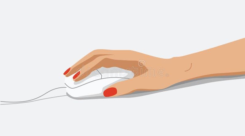 γυναίκα ποντικιών χεριών υπολογιστών διανυσματική απεικόνιση
