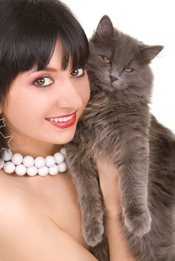 γυναίκα πορτρέτου γατών στοκ φωτογραφία