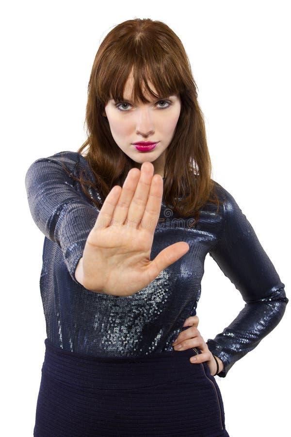 Γυναίκα που λέει το αριθ. με τη χειρονομία χεριών στοκ εικόνες με δικαίωμα ελεύθερης χρήσης