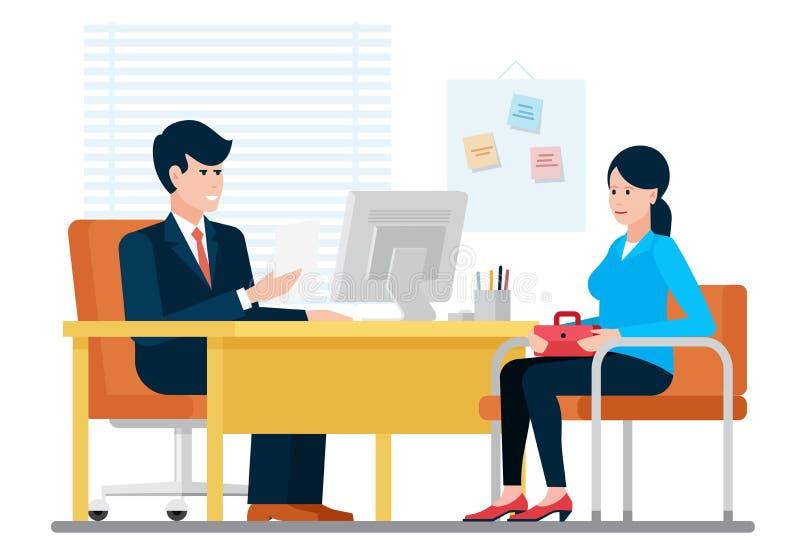 Γυναίκα που έχει μια συνέντευξη εργασίας που στρατολογεί με τον επιχειρηματία ωρ. καθμένος κοντά στη στην αρχή διανυσματική απεικ απεικόνιση αποθεμάτων