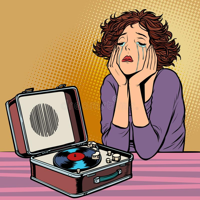 Γυναίκα που ακούει τη λυπημένη μουσική, αναδρομικό βινυλίου πικάπ διανυσματική απεικόνιση