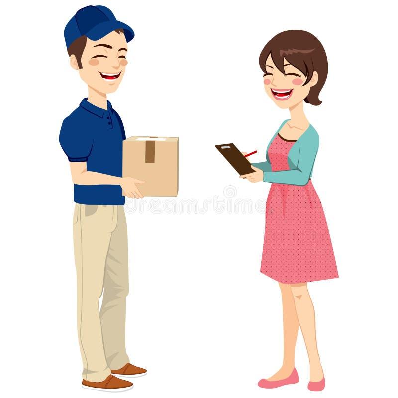Γυναίκα που λαμβάνει τη συσκευασία ταχυδρομείου διανυσματική απεικόνιση