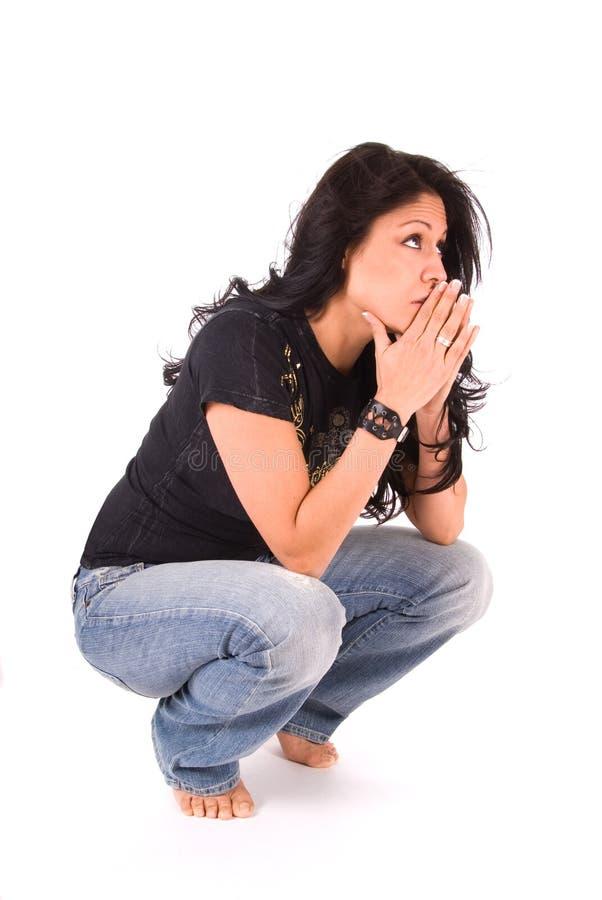 γυναίκα που ανησυχείτα&iot στοκ εικόνες