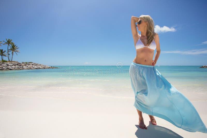 Γυναίκα που απολαμβάνει τον τροπικό καιρό στην παραλία στοκ εικόνες με δικαίωμα ελεύθερης χρήσης
