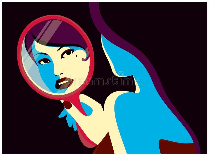 Γυναίκα που εξετάζει την στην καθρεφτών διανυσματική απεικόνιση σχεδίου μόδας ελάχιστη επίπεδη διανυσματική απεικόνιση