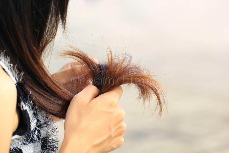 Γυναίκα που εξετάζει τις χαλασμένες χωρίζοντας άκρες της τρίχας, έννοια Haircare στοκ εικόνες με δικαίωμα ελεύθερης χρήσης