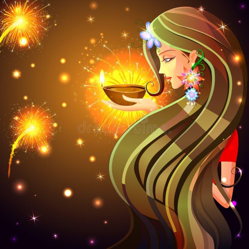 Γυναίκα που επιθυμεί ευτυχές Diwali απεικόνιση αποθεμάτων