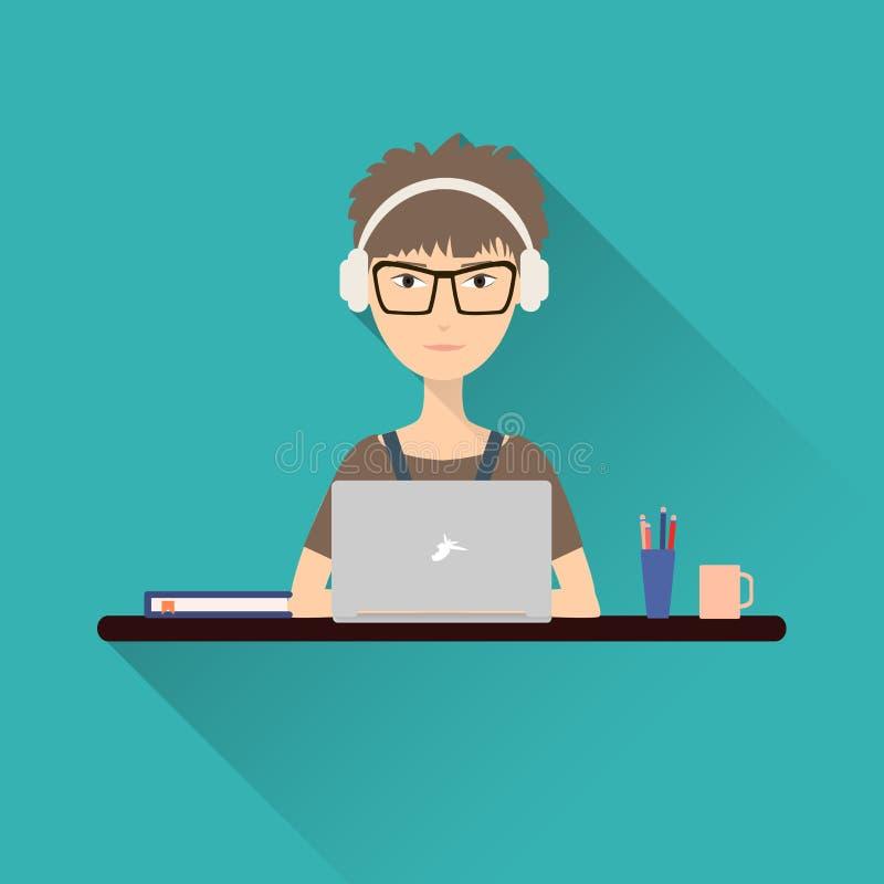 Γυναίκα που εργάζεται σε ένα lap-top με τα ακουστικά που κάθονται στο γραφείο της Διάνυσμα αποθεμάτων ελεύθερη απεικόνιση δικαιώματος