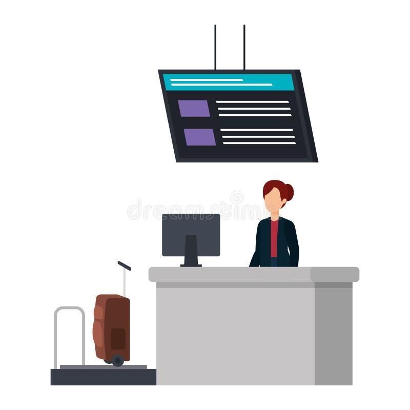 Γυναίκα που εργάζεται στη θέση αερολιμένων εγγραφής διανυσματική απεικόνιση