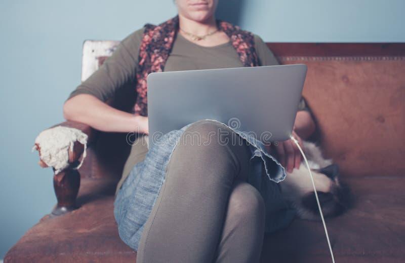 Γυναίκα που εργάζεται στο lap-top με τη γάτα στοκ εικόνα
