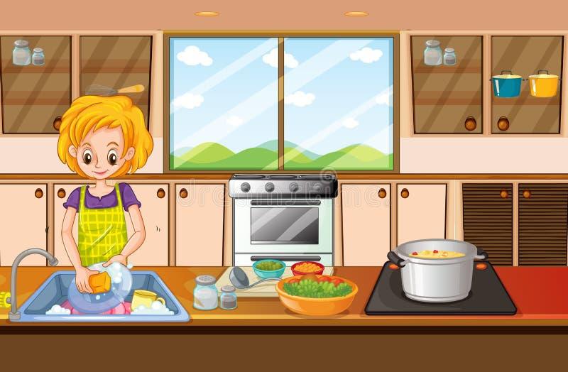 Γυναίκα που κάνει τα πιάτα στην κουζίνα ελεύθερη απεικόνιση δικαιώματος