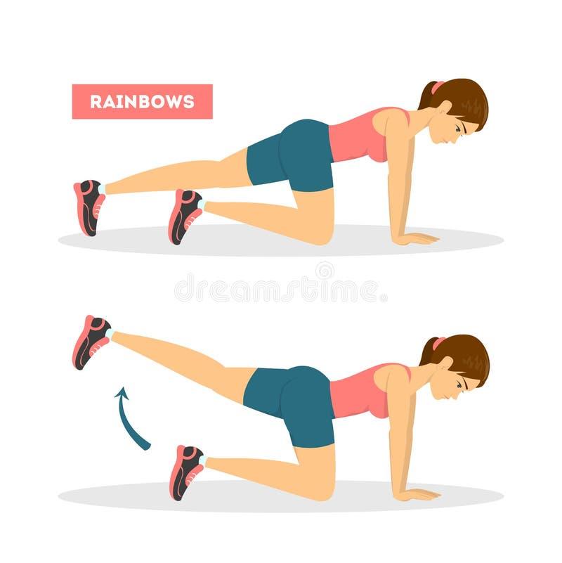 Γυναίκα που κάνει την άσκηση ουράνιων τόξων για το κατάλληλο σώμα διανυσματική απεικόνιση