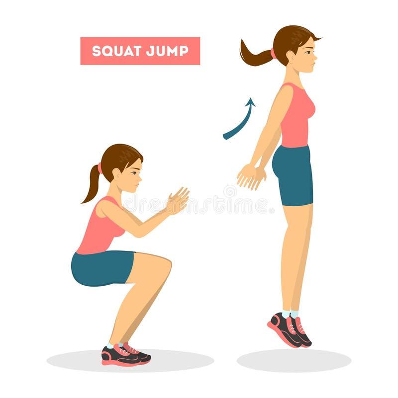 Γυναίκα που κάνει την άσκηση στάσεων οκλαδόν άλματος Workout για την άκρη απεικόνιση αποθεμάτων