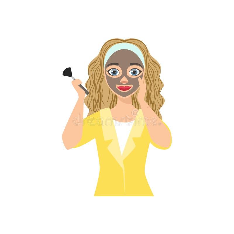 Γυναίκα που κάνει τη σκοτεινή διαδικασία Facial Mask Home Spa επεξεργασίας ελεύθερη απεικόνιση δικαιώματος
