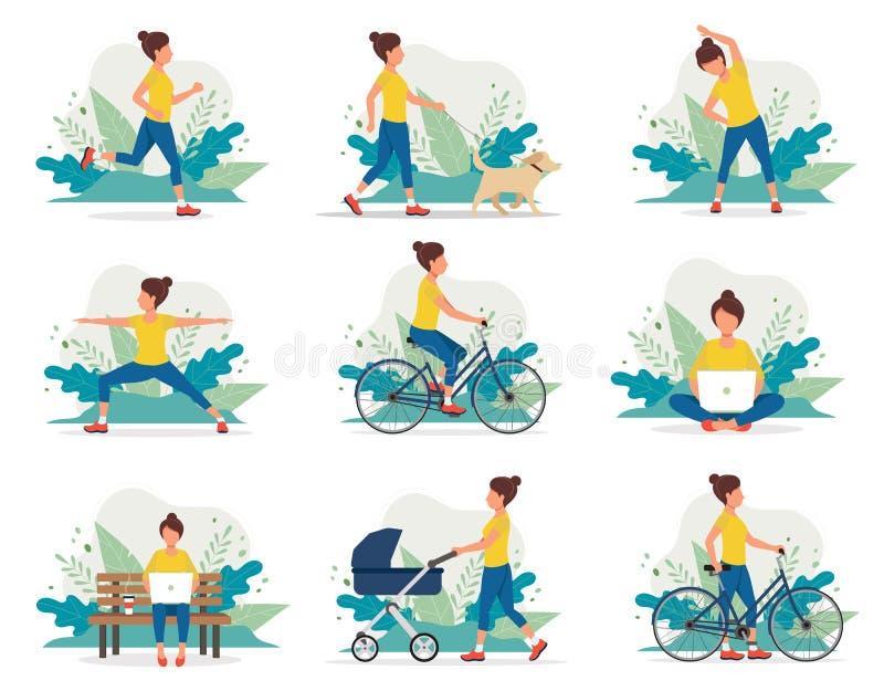 Γυναίκα που κάνει τις διαφορετικές υπαίθριες δραστηριότητες που τρέχουν, σκυλί που περπατά, γιόγκα, άσκηση, αθλητισμός, ανακύκλωσ απεικόνιση αποθεμάτων