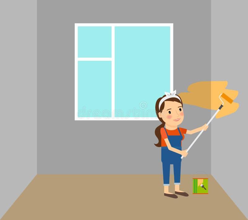 Γυναίκα που κάνει τις επισκευές στο σπίτι διανυσματική απεικόνιση