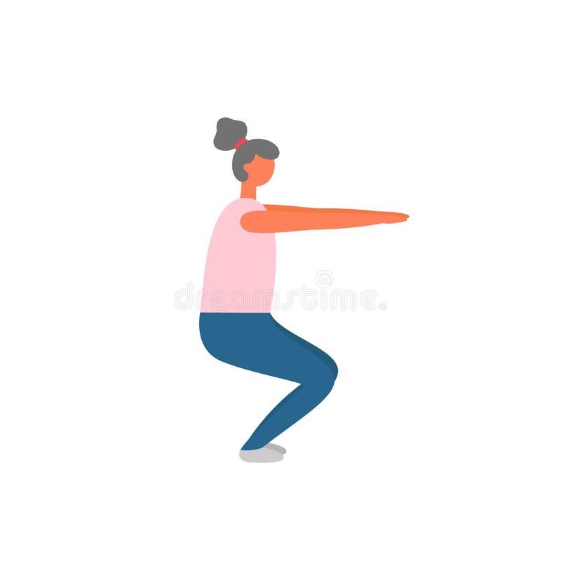 Γυναίκα που κάνει τις στάσεις οκλαδόν, την κατάρτιση Workout και ικανότητας διανυσματική απεικόνιση