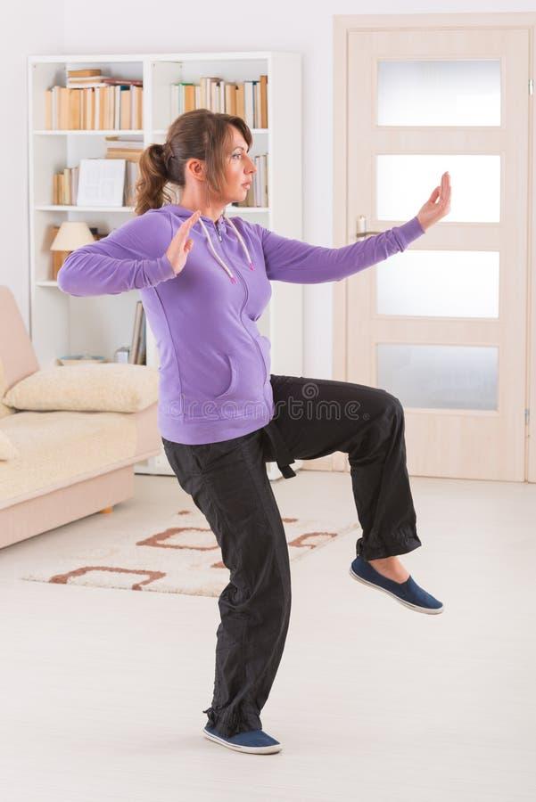 Γυναίκα που κάνει qi gong tai chi την άσκηση στοκ φωτογραφία με δικαίωμα ελεύθερης χρήσης