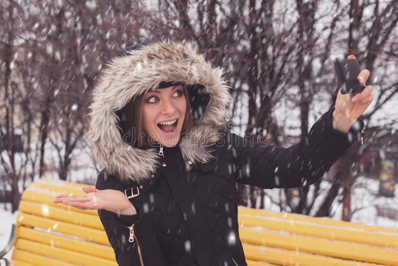 Γυναίκα που κάνει selfie στο χειμερινό πάρκο στοκ φωτογραφία με δικαίωμα ελεύθερης χρήσης